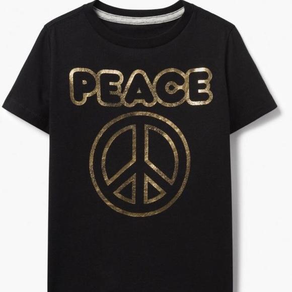 Gymboree nwt boys black gold peace sign shirt size M 7 8